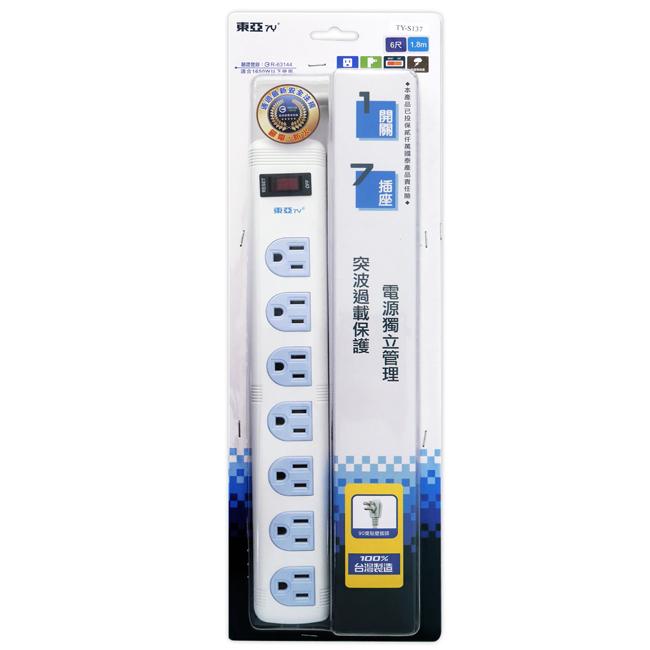【東亞】3孔1開關7插座延長線_1.8公尺(6尺) TY-S137-6尺