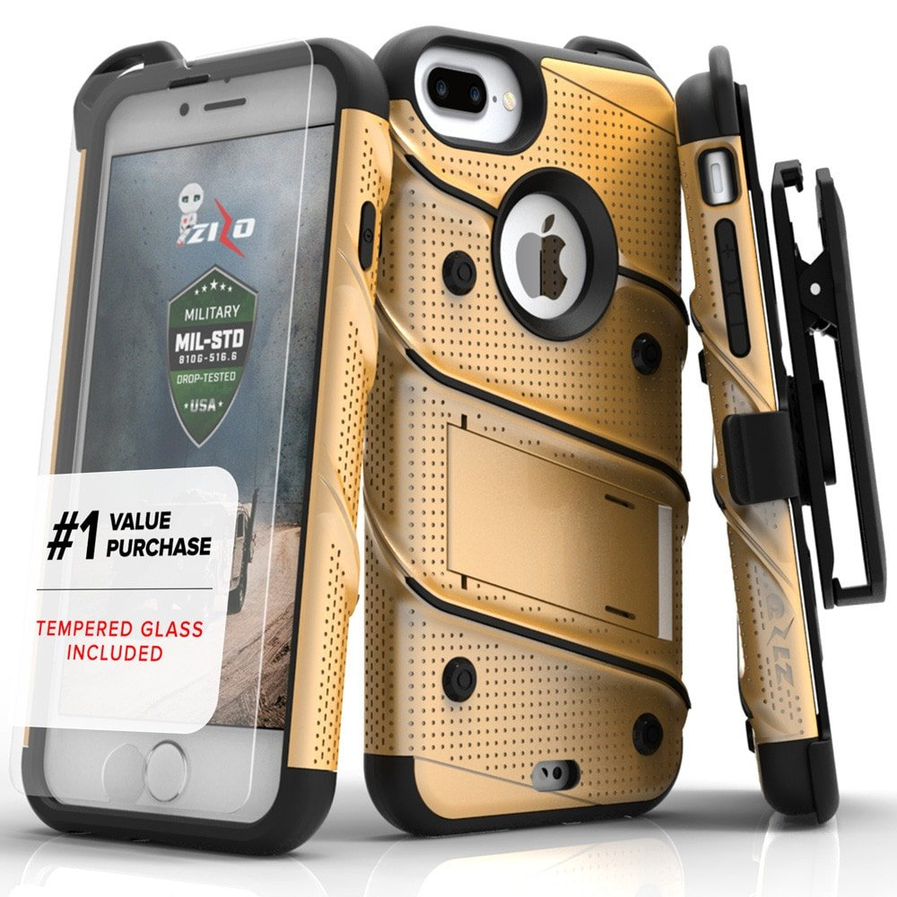 【Zizo】Bolt系列 軍規防摔殼 5.5吋共用版 iPhone8Plus / 7Plus / 6Plus 金