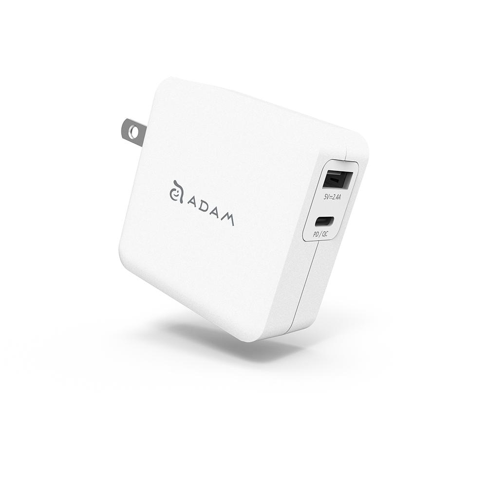 ADAM 亞果元素 OMNIA F2 USB-C PD / QC 3.0 雙口充電器 30W