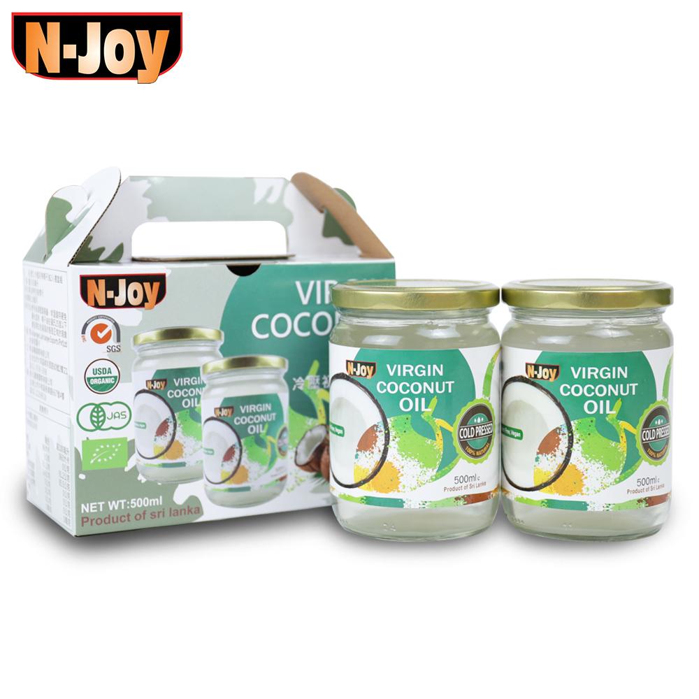 【N-Joy 恩久】有機冷壓初榨椰子油禮盒2入組(500ml/罐)