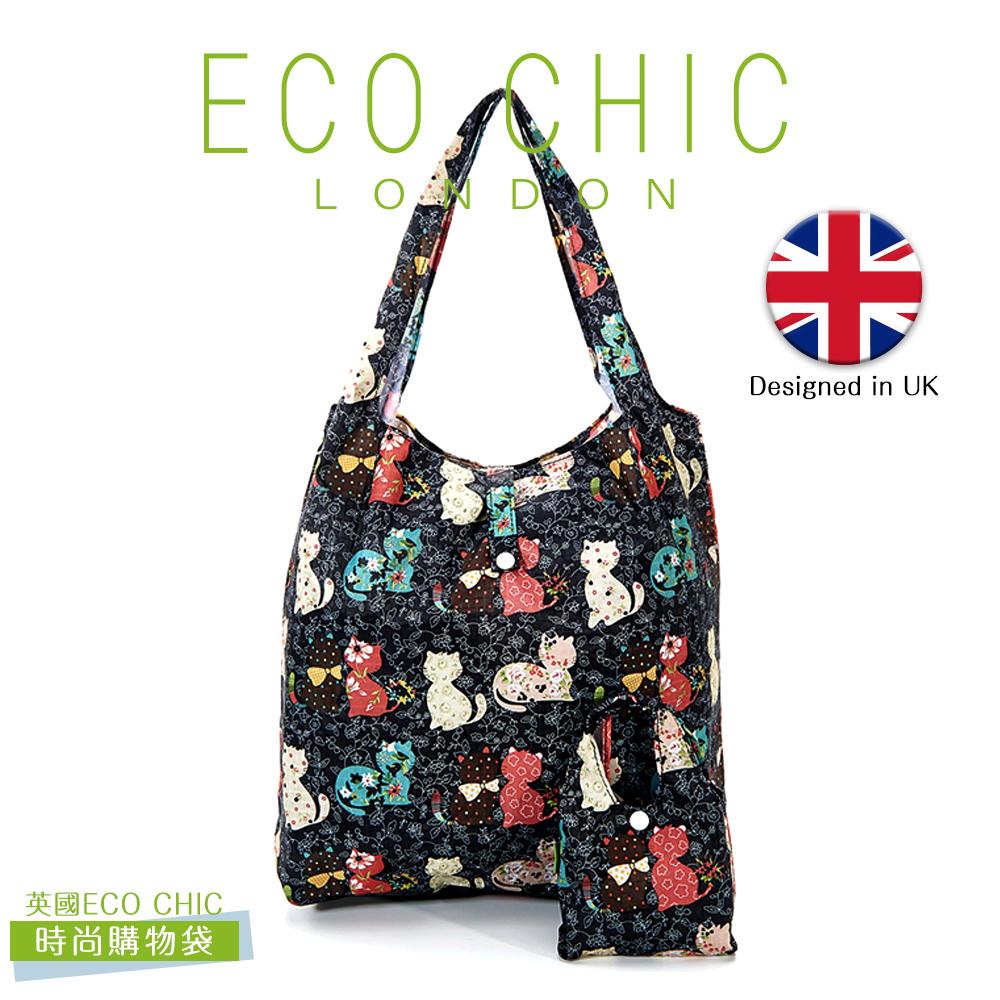 英國ECO CHIC時尚可折疊購物袋(花貓)X2