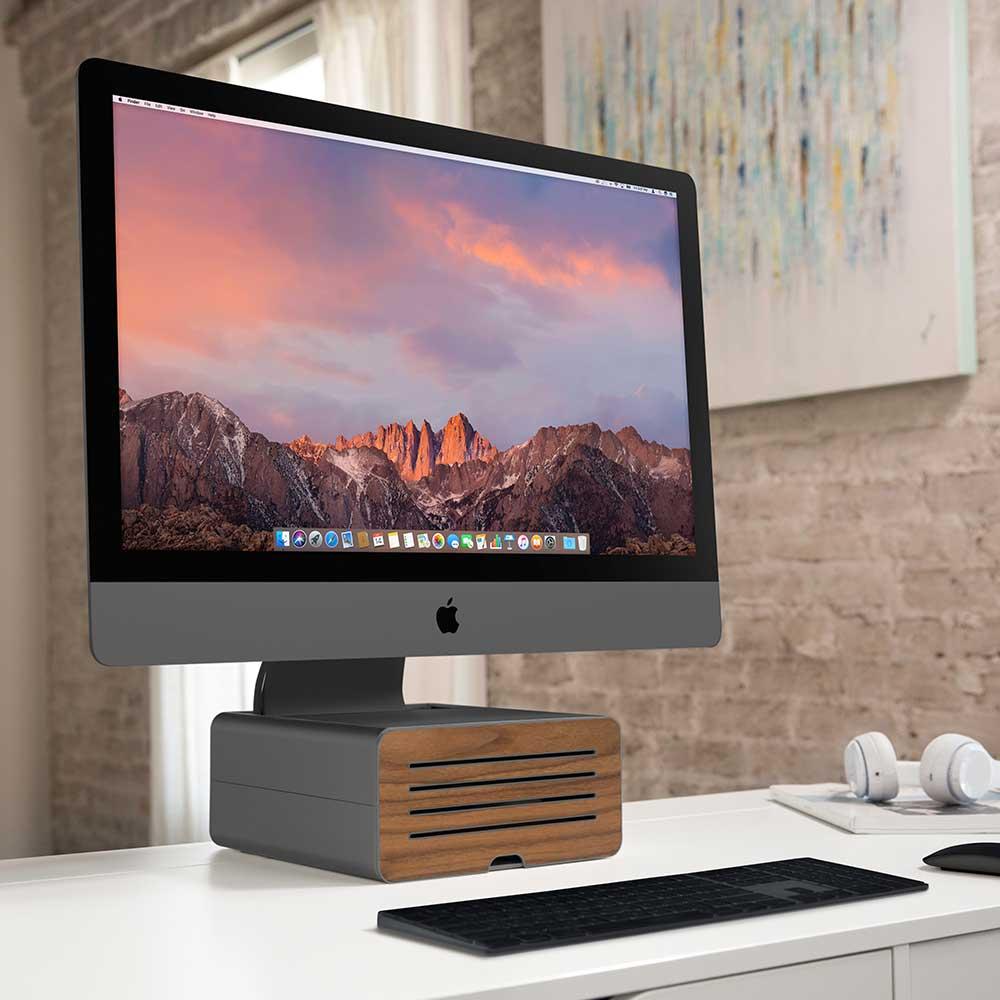 Twelve South Hirise Pro for iMac 金屬收納底座(奢華版)-木紋太空灰