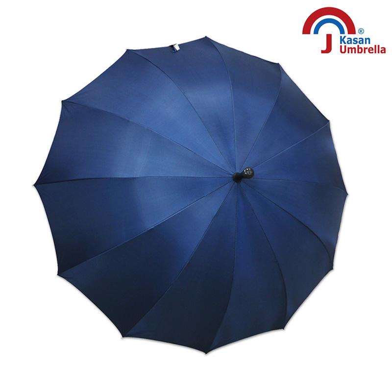 【Kasan晴雨傘】大傘面12K銀素自動直傘-深藍