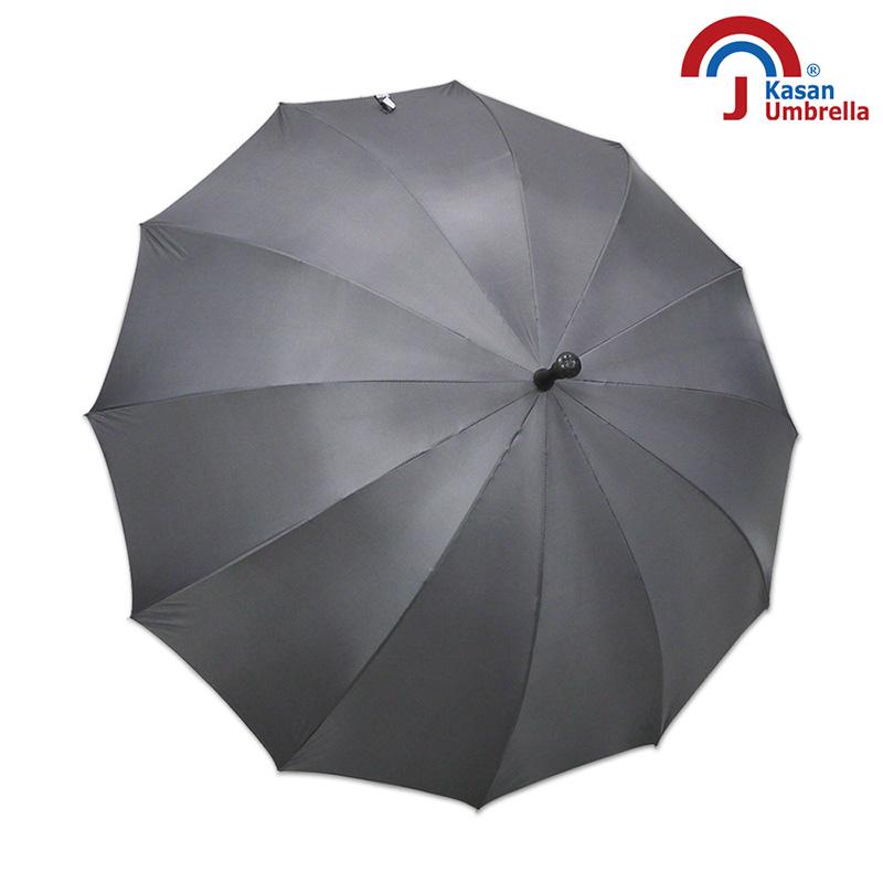 【Kasan晴雨傘】大傘面12K銀素自動直傘-鐵灰
