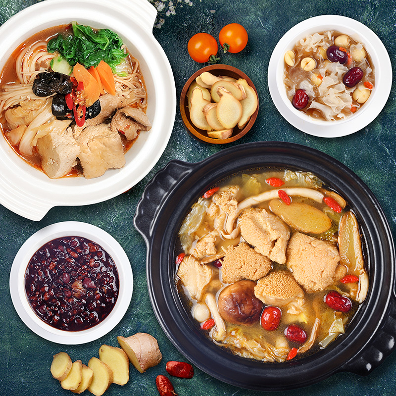 素膳系列(御膳極品麻油猴頭菇湯 | 涎香臭豆腐煲 | 紅玉銀耳羹 | 紫米貴妃盅 )每款各兩組