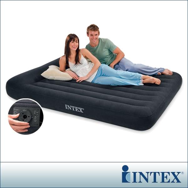 【INTEX】舒適型內建電動幫浦充氣床墊-雙人加大寬152cm-有頭枕(66777)