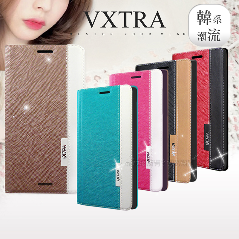 VXTRA OPPO R15 Pro 韓系潮流 磁力側翻皮套 (卡門花樣紅)