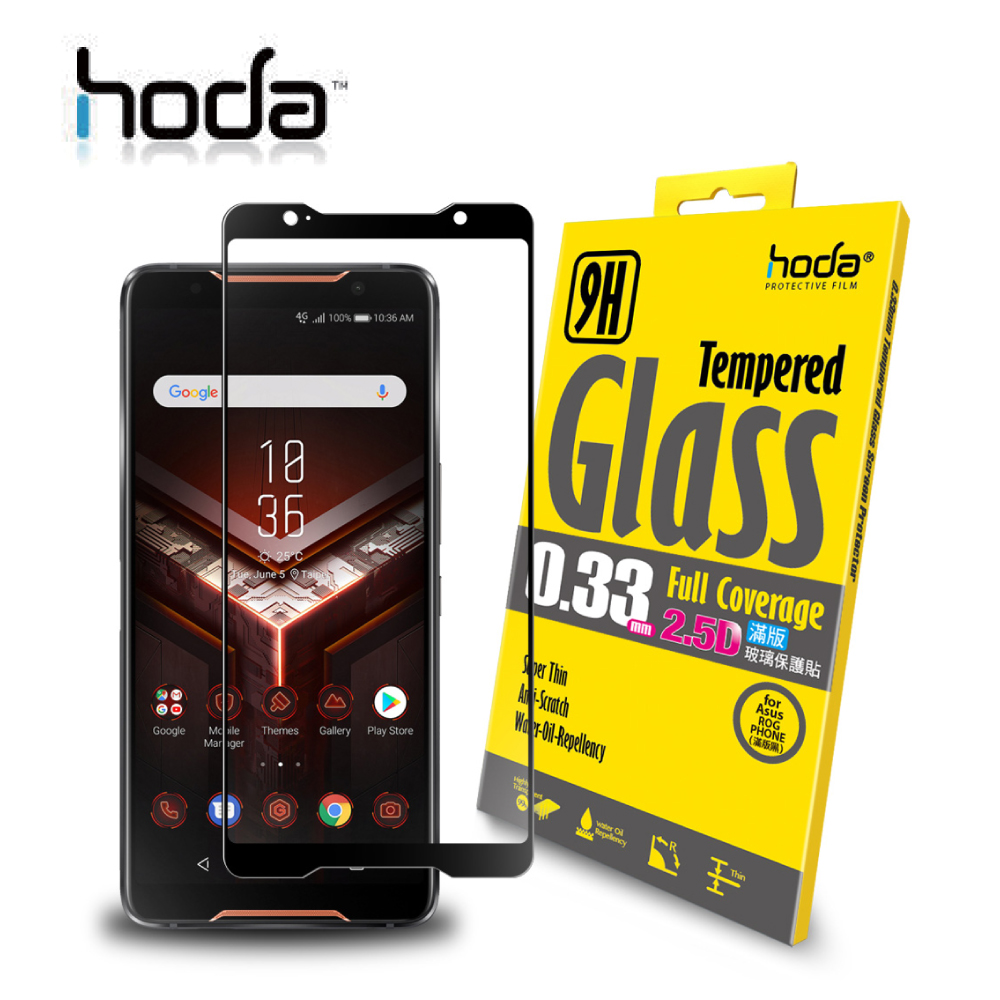 HODA ASUS ROG Phone ZS600KL 2.5D滿版高透光9H鋼化玻璃保護貼 - 黑色