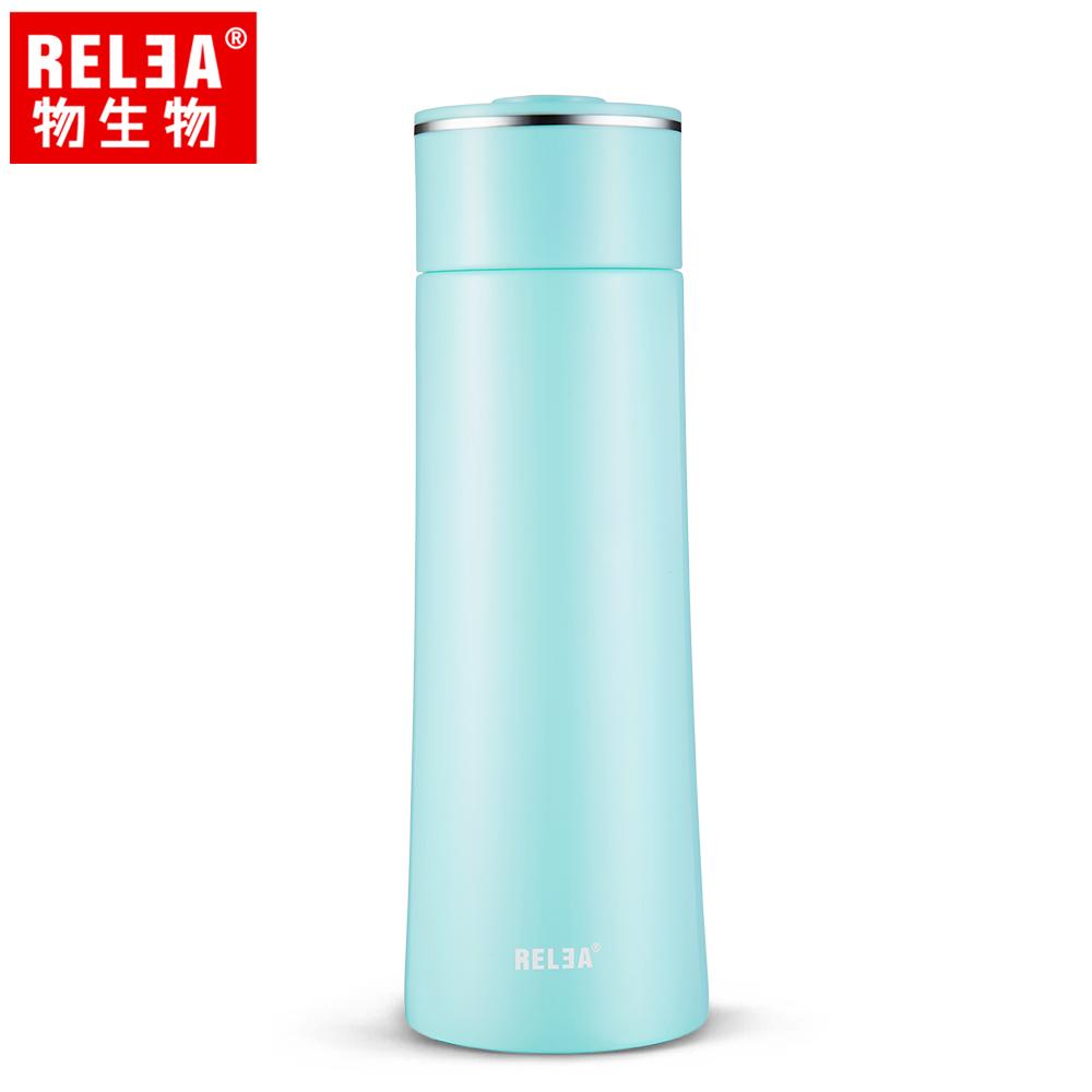 【香港RELEA物生物】400ml漫雪304不鏽鋼真空保溫杯(碧藍色)