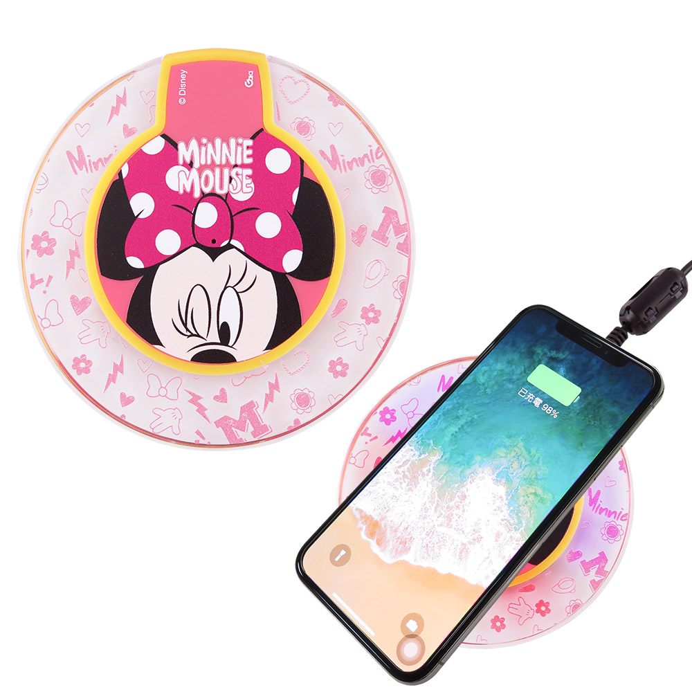 Disney迪士尼 透明水晶無線充電座/充電板_大臉米妮