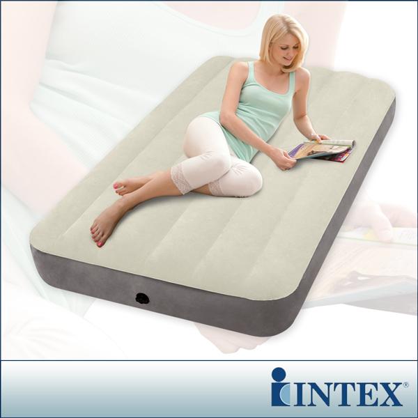 【INTEX】新型氣柱-單人加大植絨充氣床墊 (寬99cm)(64707)