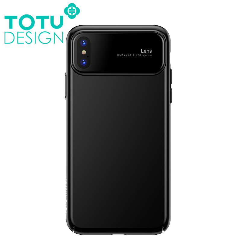 【TOTU台灣官方】魔鏡系列 iPhone X ix 手機殼 防摔殼 玻璃 鏡面 磨砂 四角 全包 硬殼 黑色