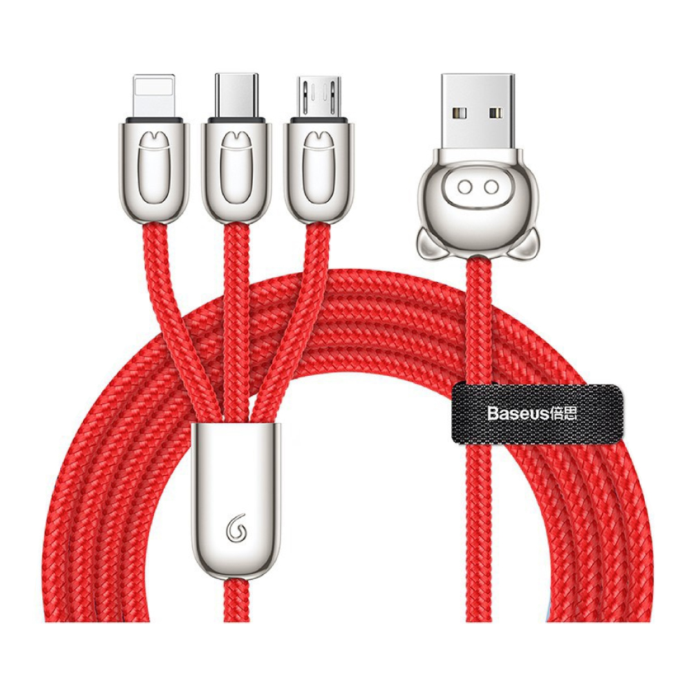 Baseus 倍思 三隻小豬 一拖三傳輸線(Micro+Lightning+Type-C) -紅色