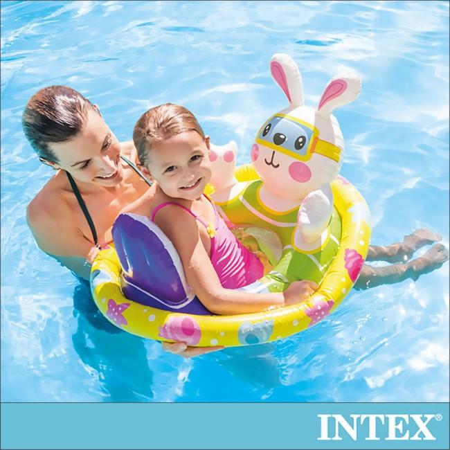【INTEX】造型幼兒坐式充氣泳圈-兔子 適3~4歲 (59570)
