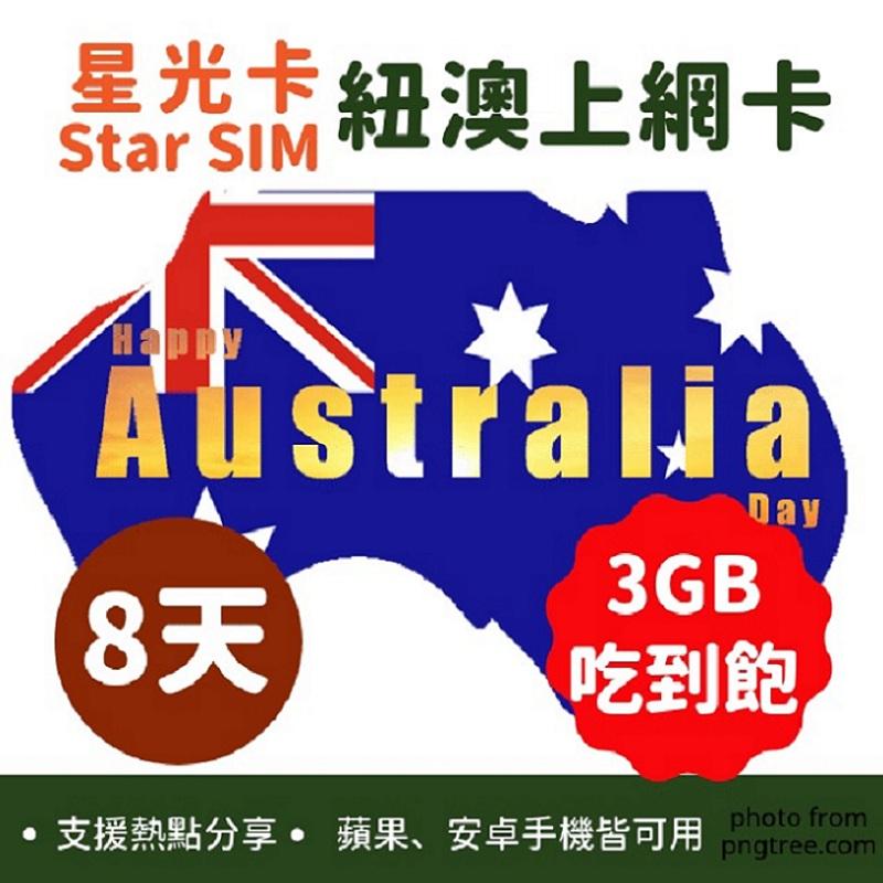 星光卡-紐澳8天3GB/降速128kbps吃到飽高速上網卡