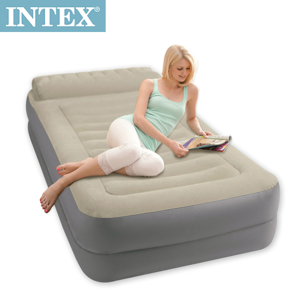 【INTEX】豪華雙層有頭枕單人加大充氣床-寬99cm (附電動幫浦)(67775)