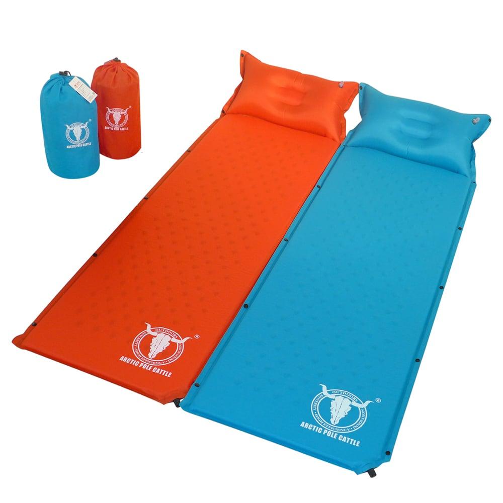 【APC】可拼接自動充氣睡墊-帶自充式頭枕-厚2.5cm-桔紅色+藍色