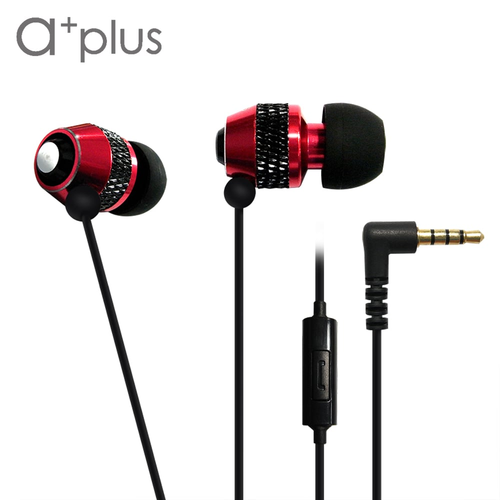 a+plus鋁合金入耳式可通話立體聲耳機 - 玫瑰紅