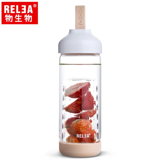 買1送1【香港RELEA物生物】500ml水果鮮飲玻璃杯(牛奶咖)贈送款顏色隨機出貨