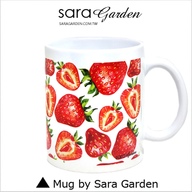 【Sara Garden】客製 手作 彩繪 馬克杯 Mug 手繪 插畫 水彩 滿版 草莓 咖啡杯 陶瓷杯 杯子 杯具 牛奶杯 茶杯
