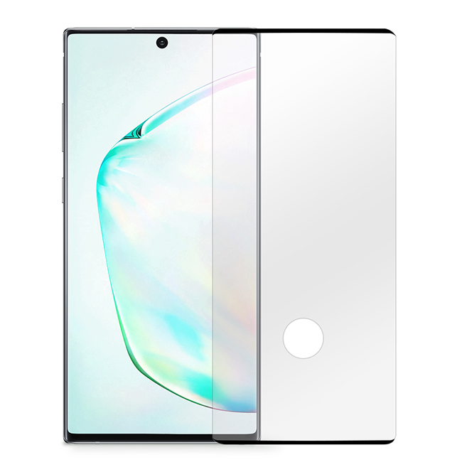 【AdpE】SAMSUNG三星 Galaxy Note10+ 黑邊滿版高清防爆鋼化玻璃膜(可解鎖版)