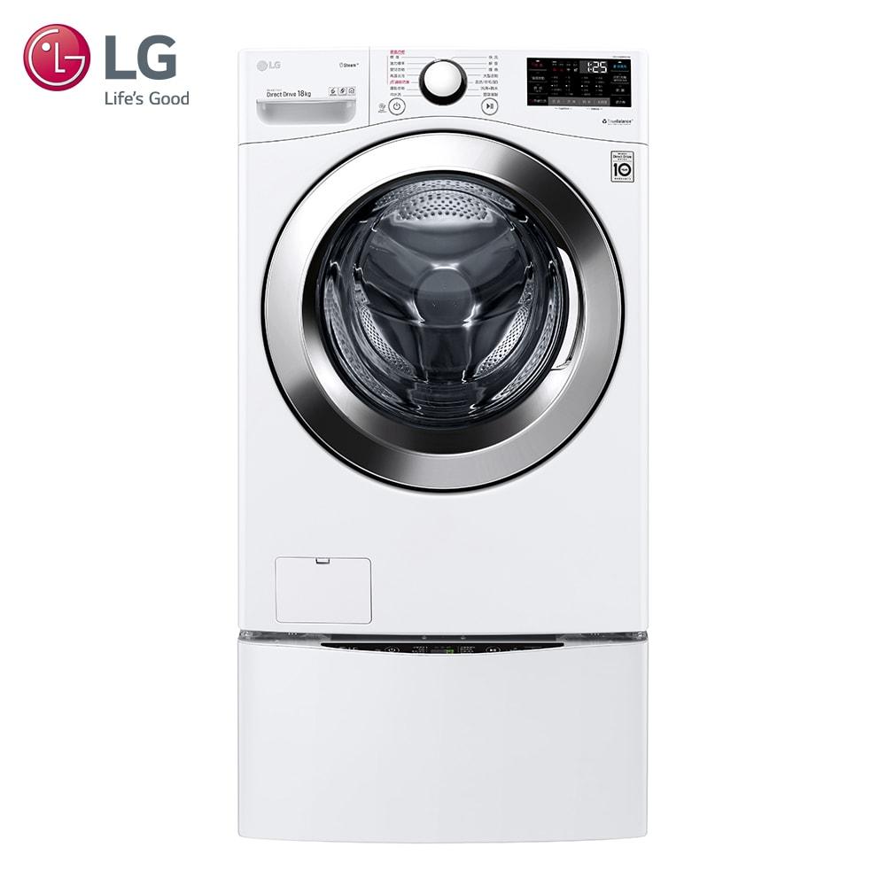 LG樂金 WD-S18VCW+WT-D250HW WiFi滾筒洗衣機 典雅白 /18公斤+2.5公斤 贈和風碗組、直流風扇、回函申請送全家商品卡$2500