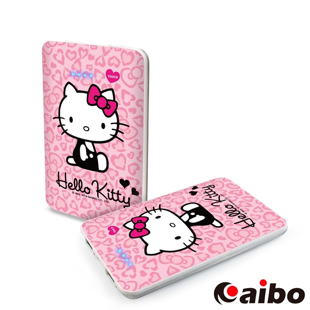 【Hello Kitty】閃亮華麗 7200mAh 極致輕薄行動電源-豹紋粉