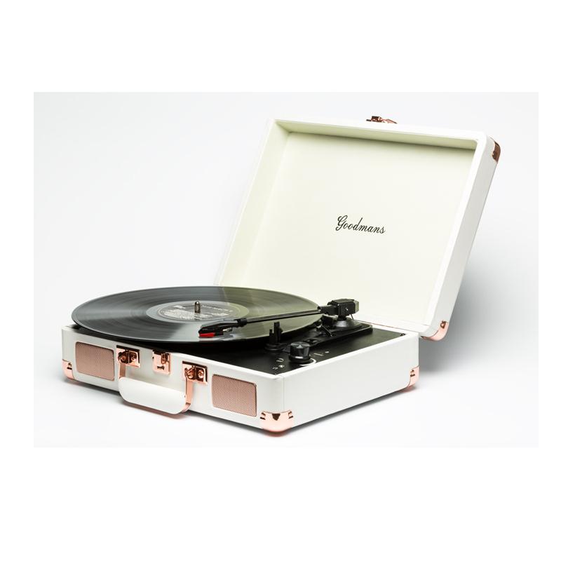 Goodmans Ealing Turntable 英國手提箱黑膠唱片機-白色