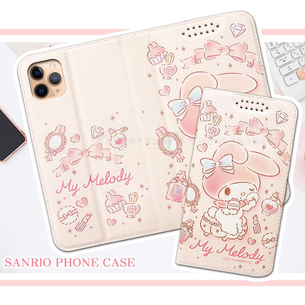 三麗鷗授權 My Melody美樂蒂 iPhone 11 Pro 5.8吋 粉嫩系列彩繪磁力皮套(粉撲)