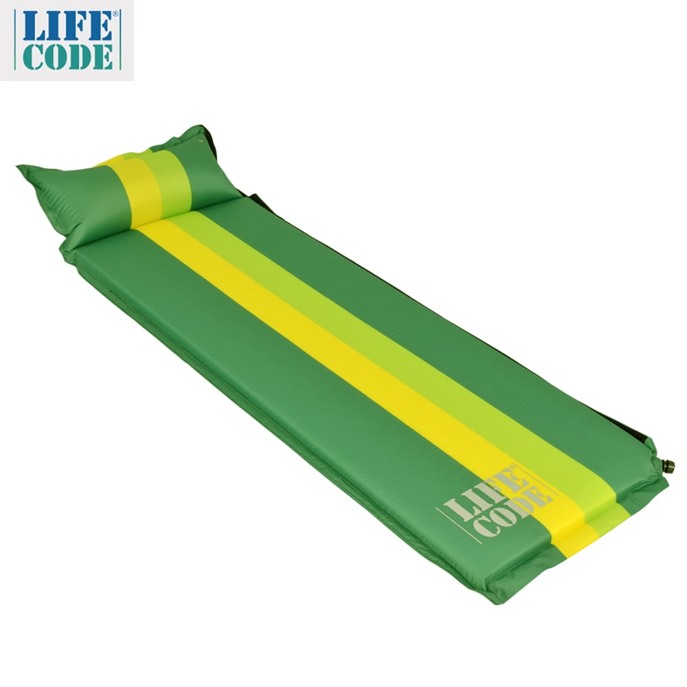 【LIFECODE】條紋可拼接自動充氣睡墊(有枕頭設計)-厚5cm-綠色