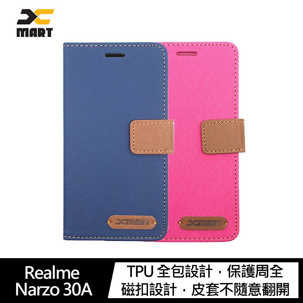 XMART Realme Narzo 30A 斜紋休閒皮套(藍色)