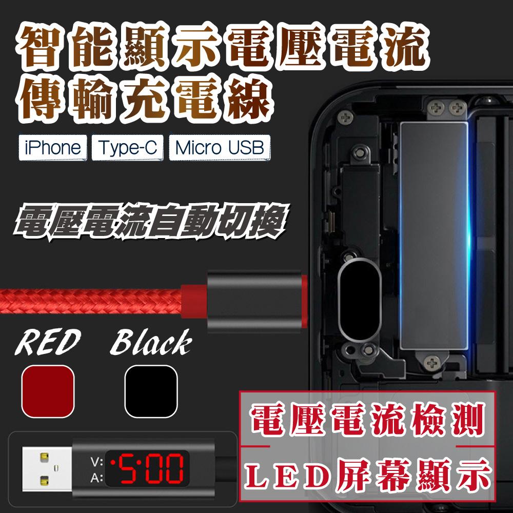 Lestar 智能顯示電壓電流 Type-C傳輸充電線 - 紅色
