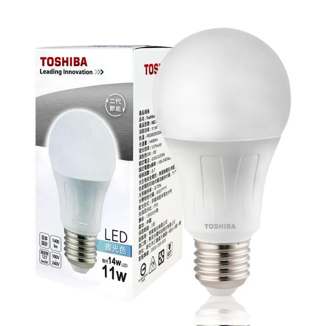 TOSHIBA 二代 11W LED廣角球泡型燈泡4入-黃光/白光/自然光