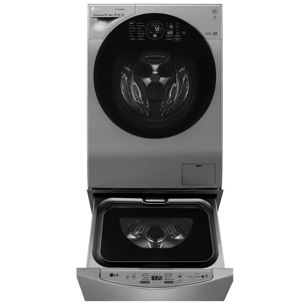折價券★LG樂金12+2公斤雙能洗蒸洗脫烘(典雅銀) WD-S12GV+WT-D200HV
