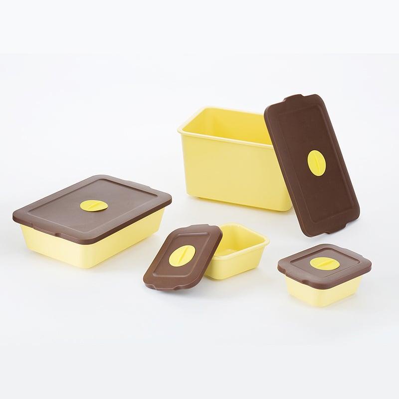 【買一組送一組隨機顏色】-【台灣 S.E.E.】玉米澱粉保鮮盒-馬卡龍黃 四件組