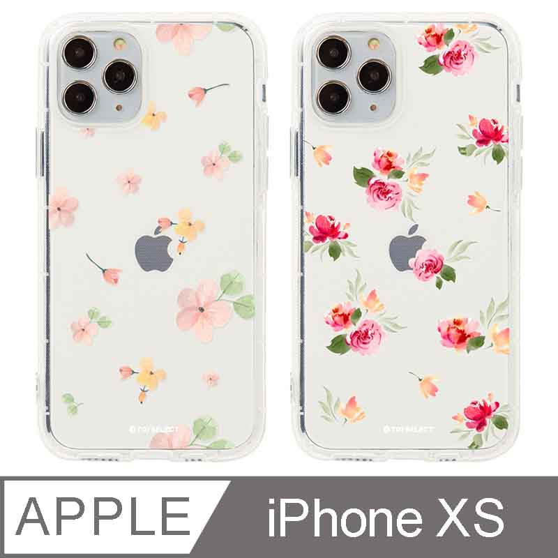 iPhone X/Xs 5.8吋 Queen女王的水晶花卉防摔iPhone手機殼 淡彩小花