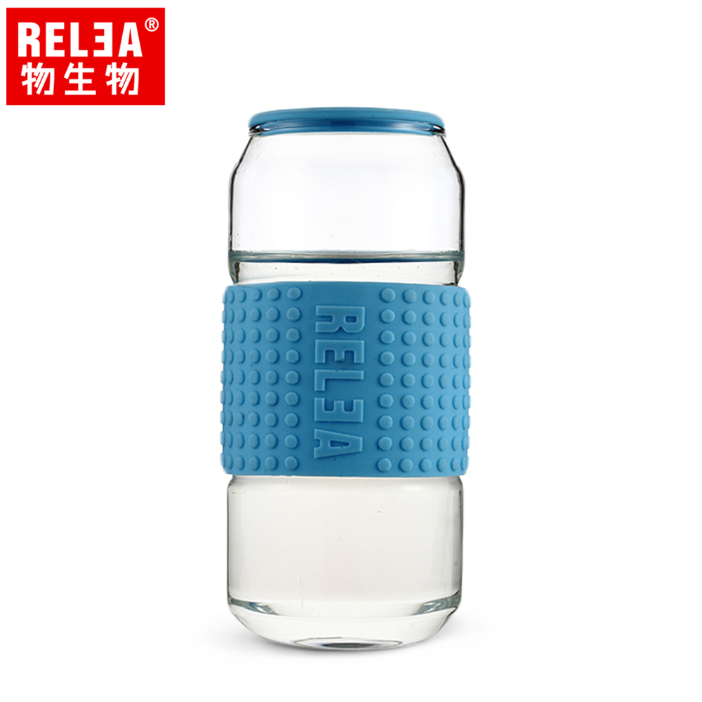 買1送1【香港RELEA物生物】450ml耐熱玻璃帶蓋可樂杯(晴空藍)贈送款顏色隨機出貨