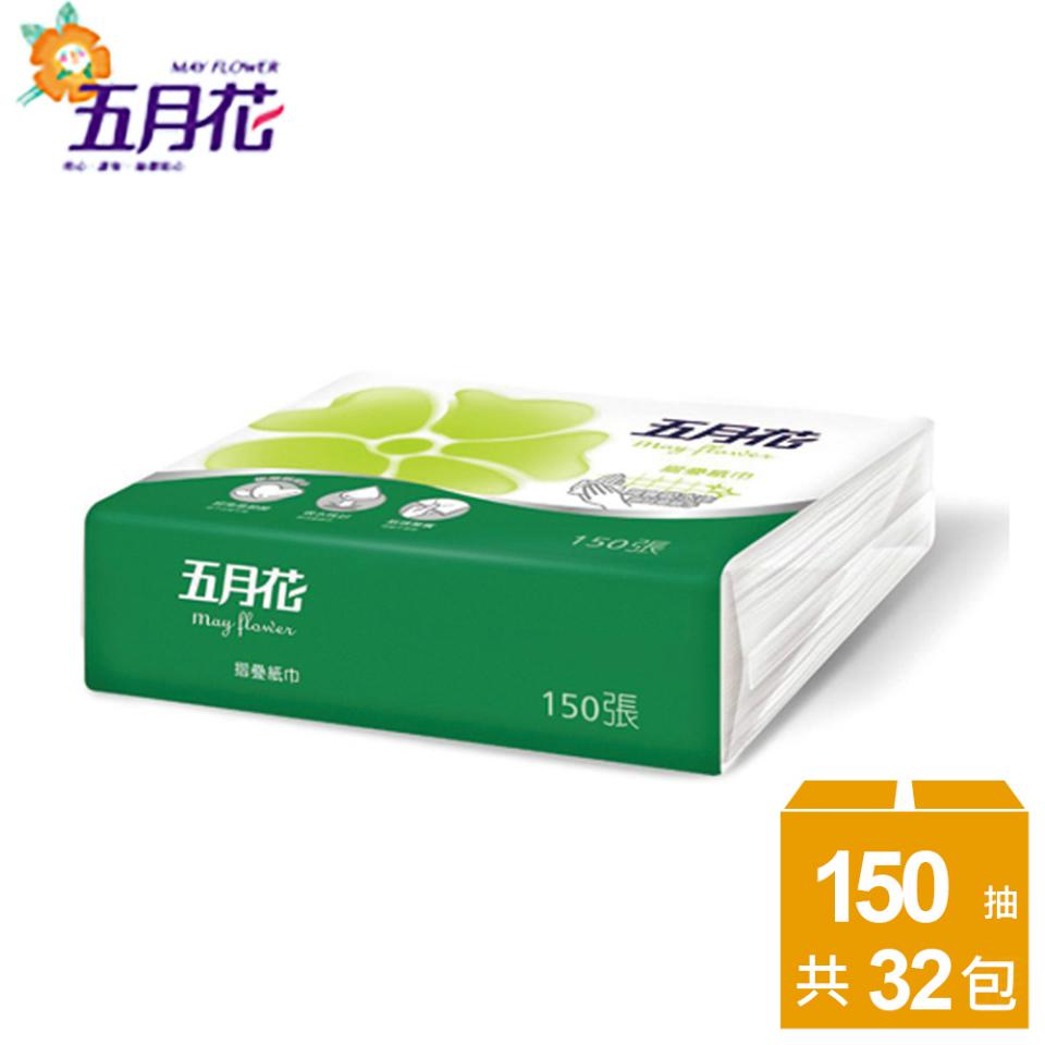 【五月花】摺疊紙巾150張x32包-功能版/箱