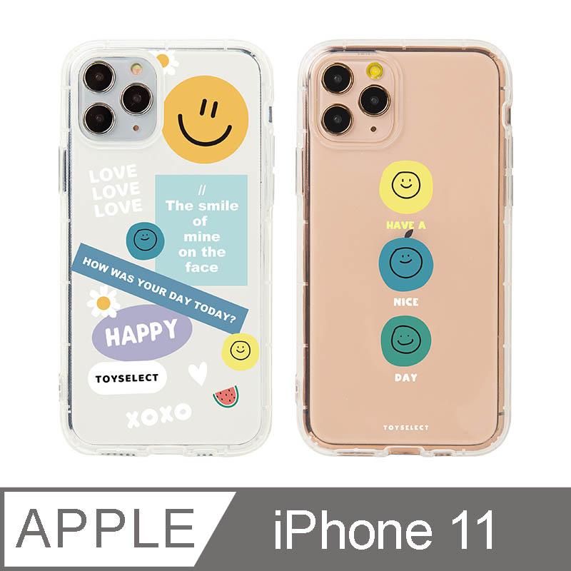 iPhone 11 6.1吋 Smilie微笑淡彩 拼貼透明防摔iPhone手機殼 拼貼