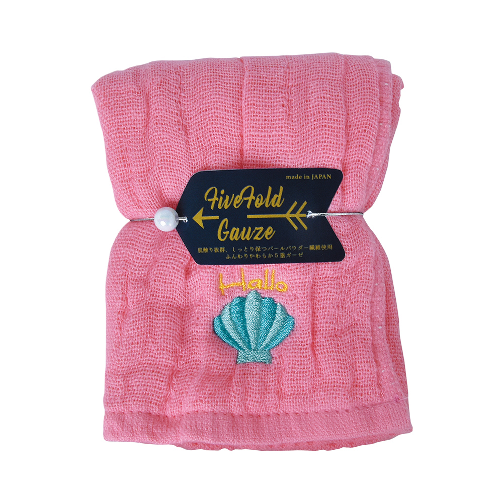 Nicott 日本五重珍珠紗方巾〈桃粉海貝兩入組〉