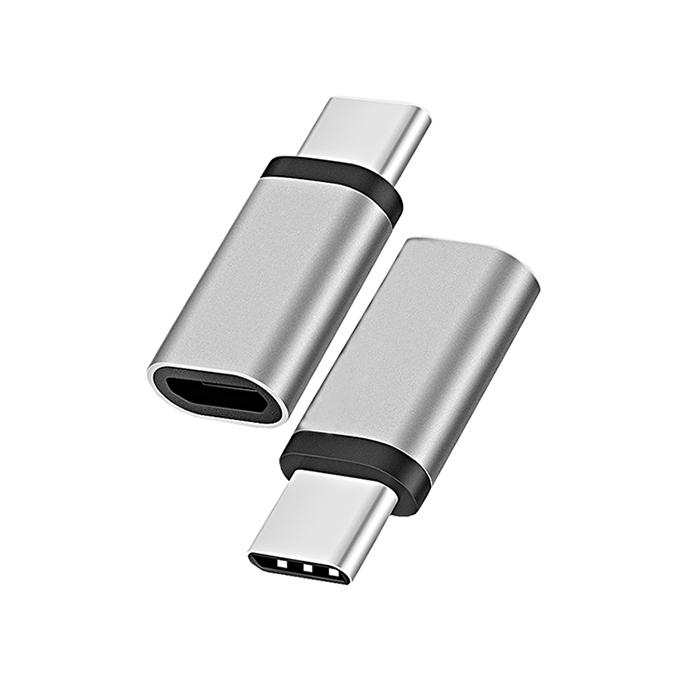 【2入組】AdpE Type-C to Micro USB2.0 AF轉接頭-太空灰