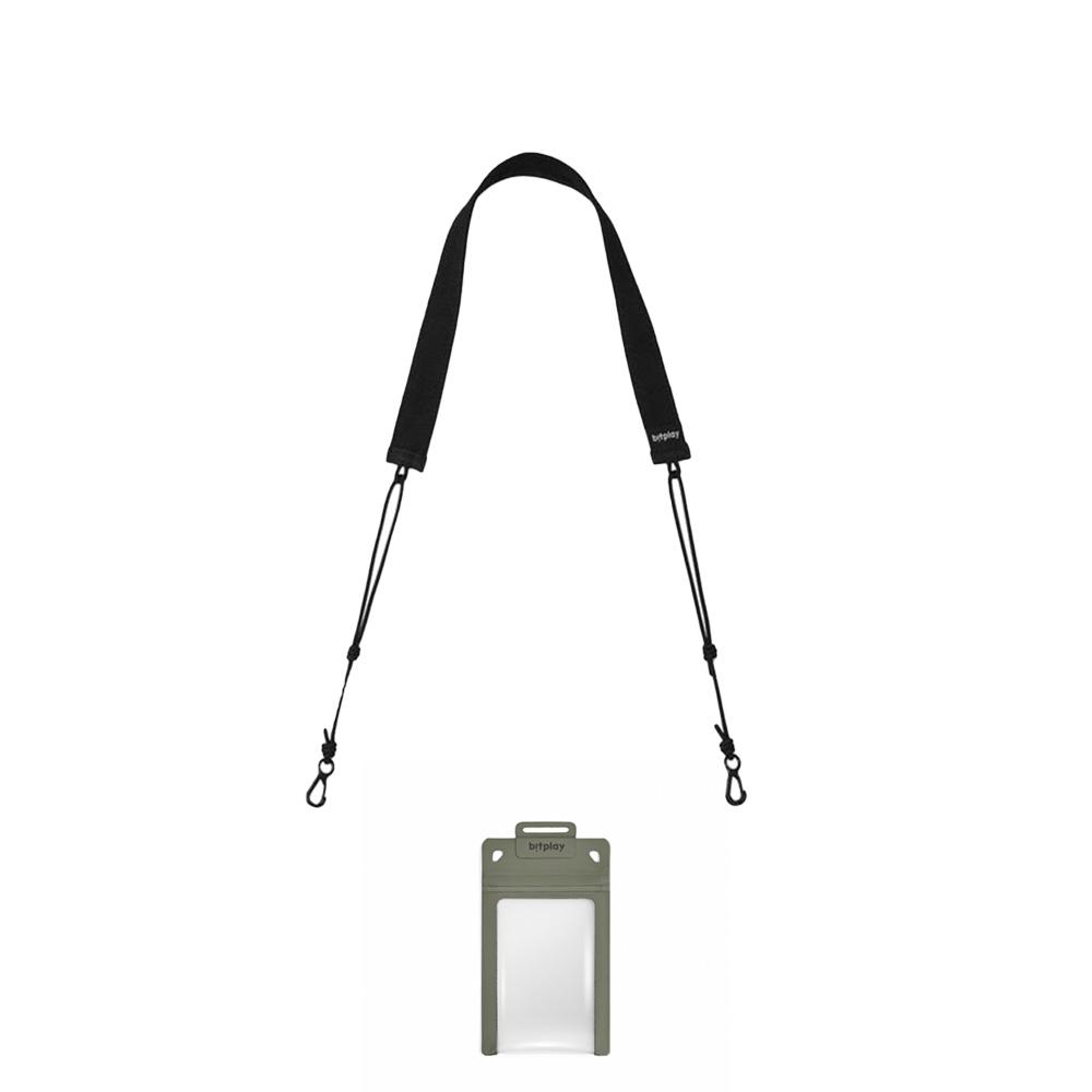 bitplay AquaSeal 防水機能證件套 - 荒野綠 + 標準扁繩背帶 - 黑色