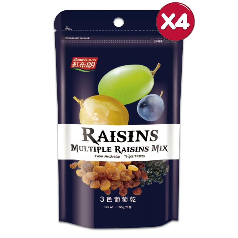 【紅布朗】3色葡萄乾 (180g/袋)X4袋