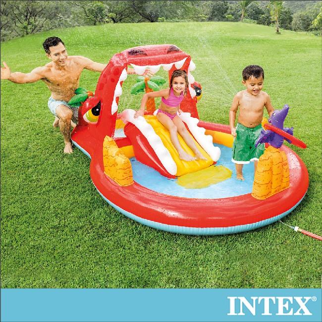 【INTEX】快樂恐龍嘴噴水戲水/游泳池259x165x107cm(169L)3歲+(57160)