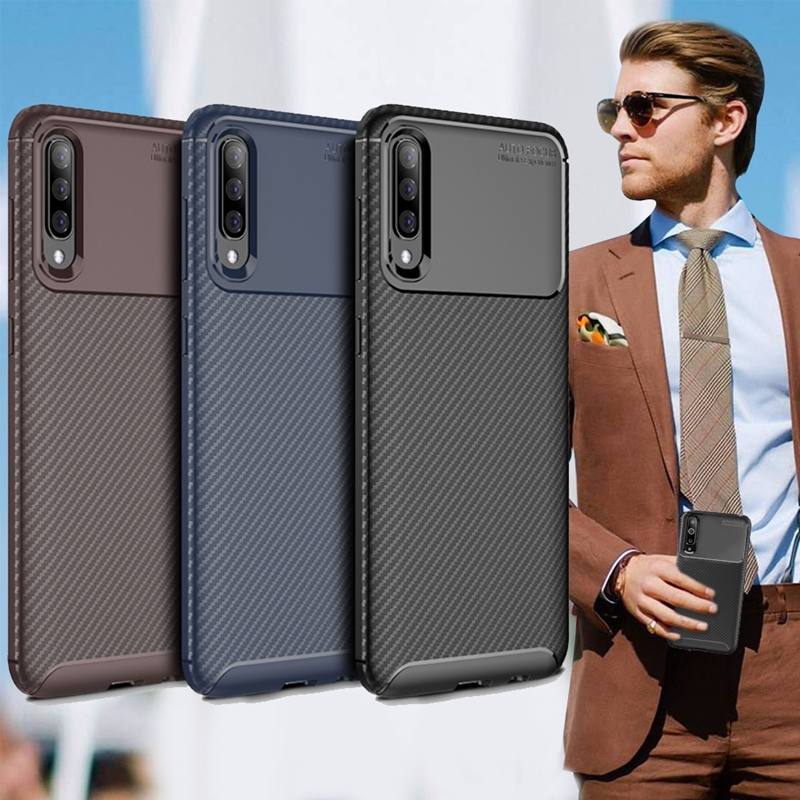 爵士焦點 三星 Samsung Galaxy A50 碳纖維防指紋軟式手機殼(可可咖)
