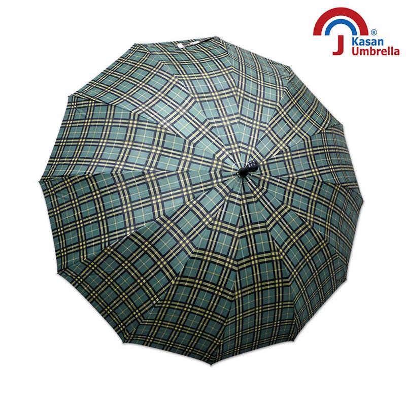 【Kasan 晴雨傘】大傘面12K銀格自動直傘 - 黃綠格