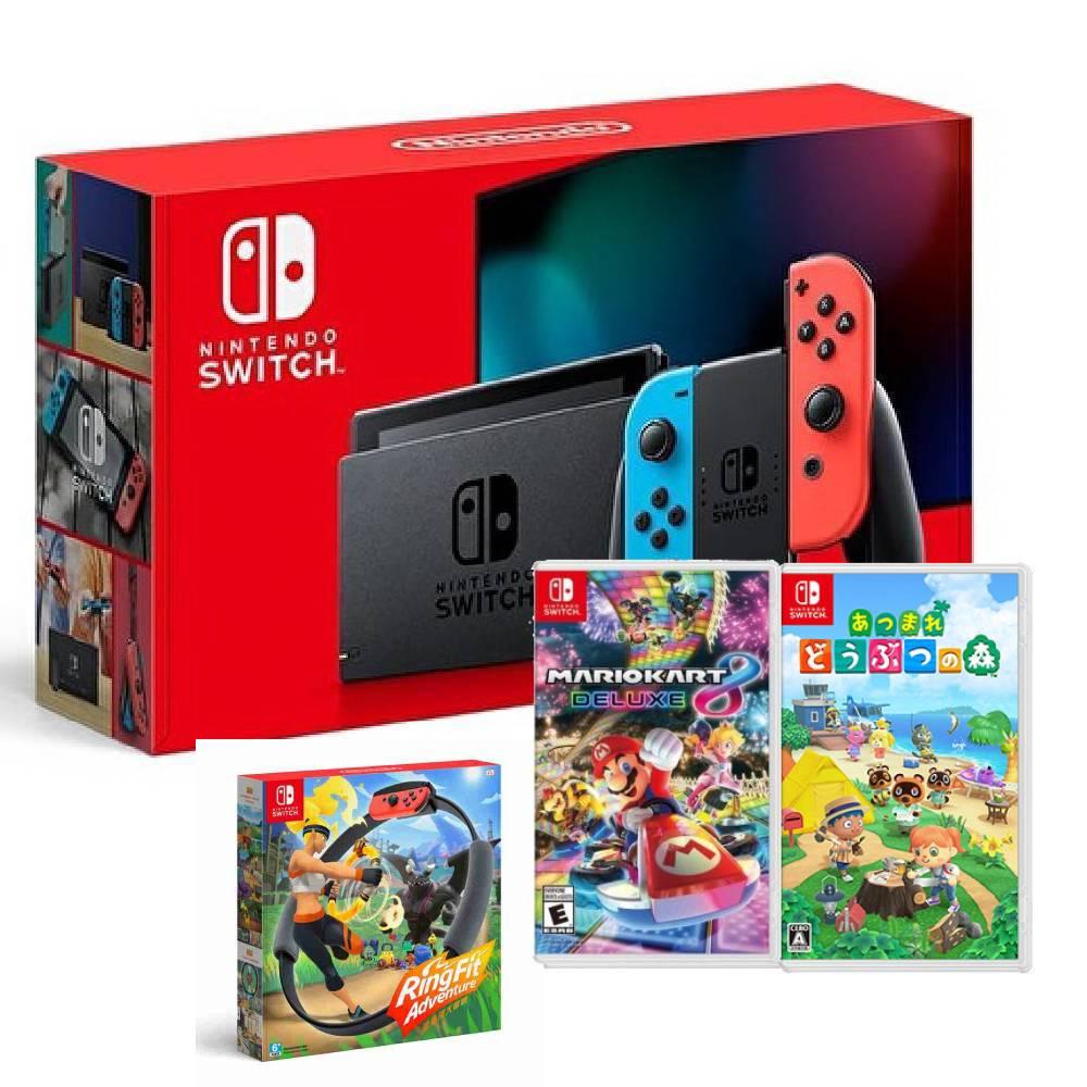 【預購】Nintendo Switch 主機 電光紅藍 (電池加強版)+健身環大冒險 同捆組+瑪利歐賽車 8 豪華版+動物森友會 中文版