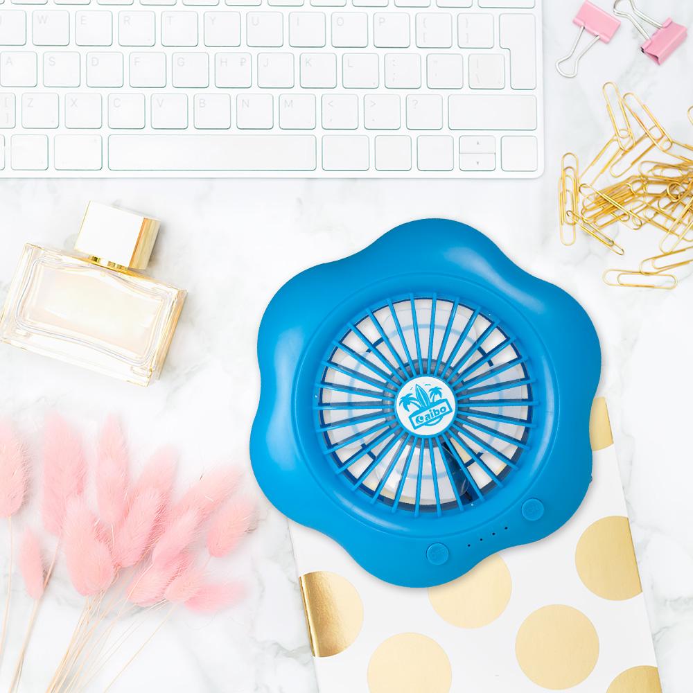aibo 五吋 USB充電式三段變速 棉花糖風扇-藍色