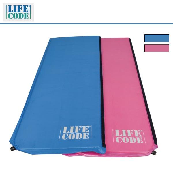 LIFECODE《馬卡龍》雙面可用自動充氣睡墊-厚3cm(天藍/桃紅+紫/綠)