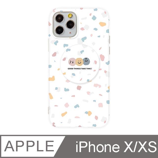 iPhone X/Xs 5.8吋 Smilie笑臉水磨石氣囊支架iPhone手機殼 碎花三胞胎